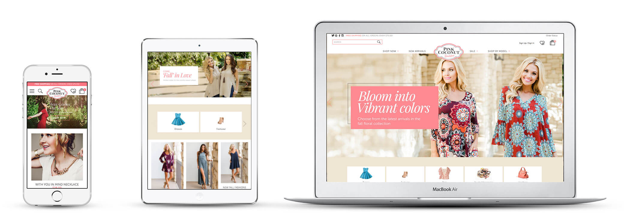 Echidna Pink Coconut Boutique Website Design Across Devices