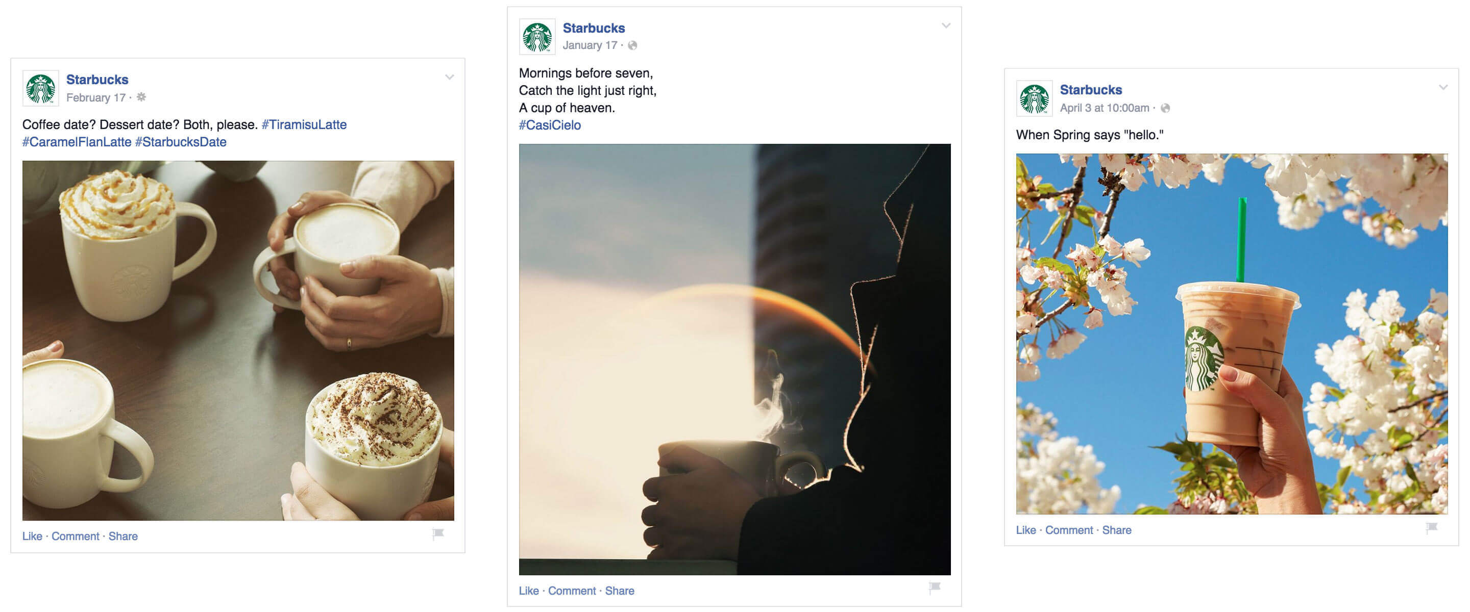 Starbucks Facebook Posts Engaging Photos Minimal Copy Creative